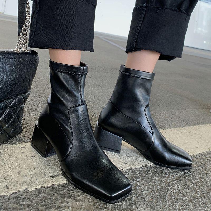 black square toe block heel boots