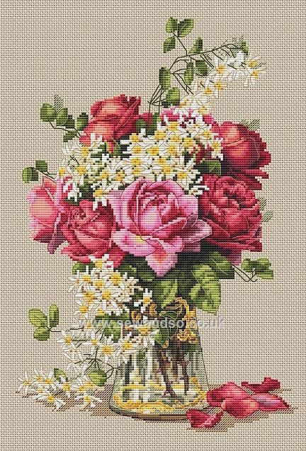 Buy roses cross stitch kit online at wandso