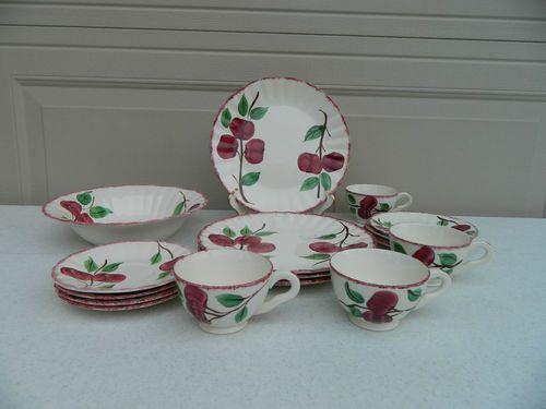 17 Piece Blue Ridge Southern Potteries Crab Apple Dinnerware Set   eBay & 17 Piece Blue Ridge Southern Potteries Crab Apple Dinnerware Set ...