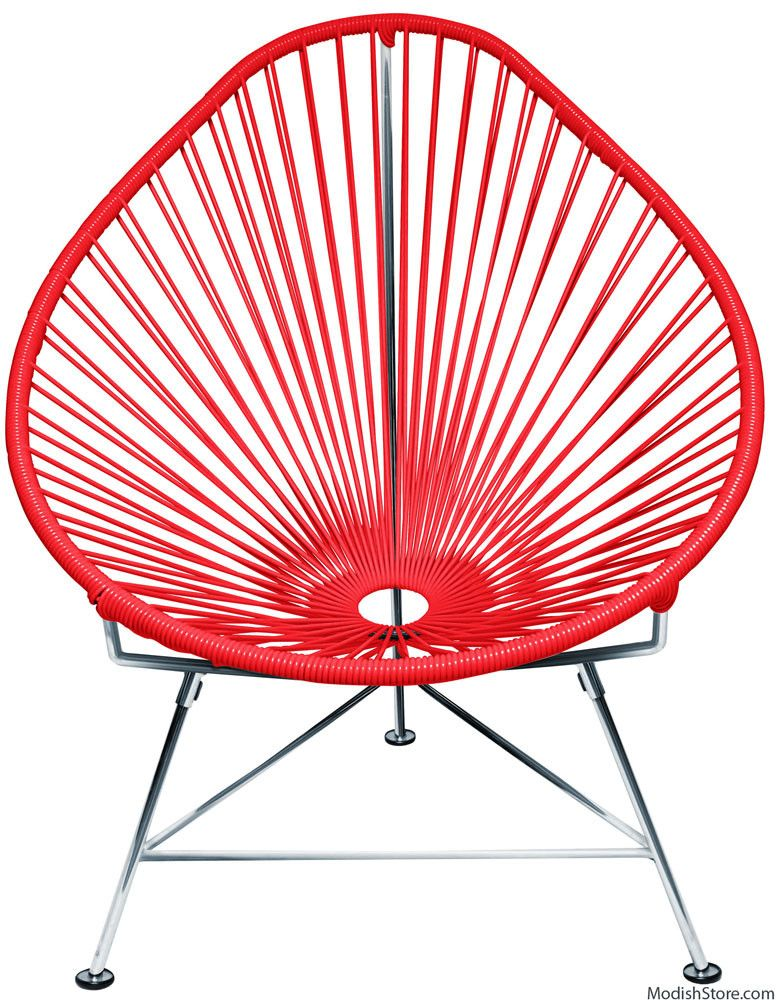 Innit Acapulco Chair - Chrome Frame Red Weave