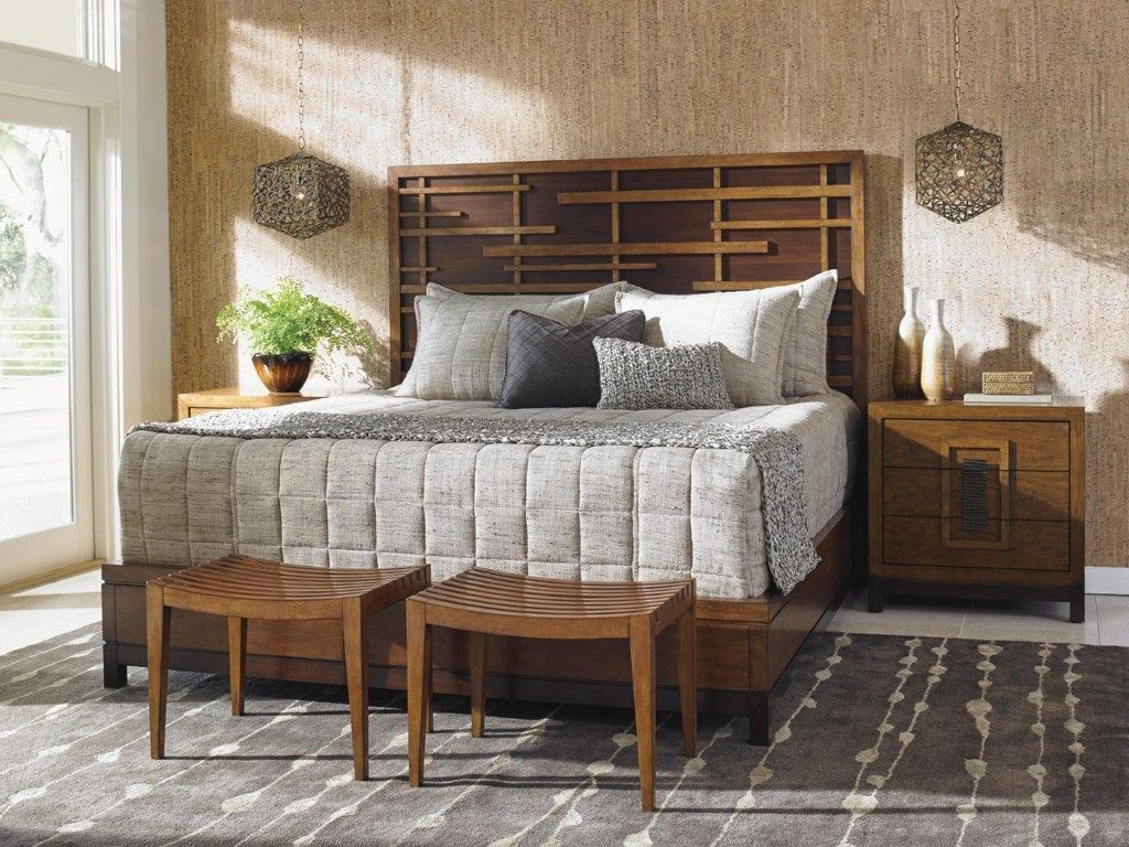 Island Fusion Queen-Sized Shanghai Panel Bed with Pan-Asian Fretwork by Tommy Bahama Home #indischesschlafzimmer The juxtaposition of a dark walnut background and earth-toned hickory fretwork create depth and catch the eye in your master or guest bedroom. This exceptionally-styled panel bed boasts a Pan-Asian design to bring balance and harmony to your contemporary room decor. Includes hickory platform footboard and rails. #indischesschlafzimmer Island Fusion Queen-Sized Shanghai Panel Bed with #indischesschlafzimmer