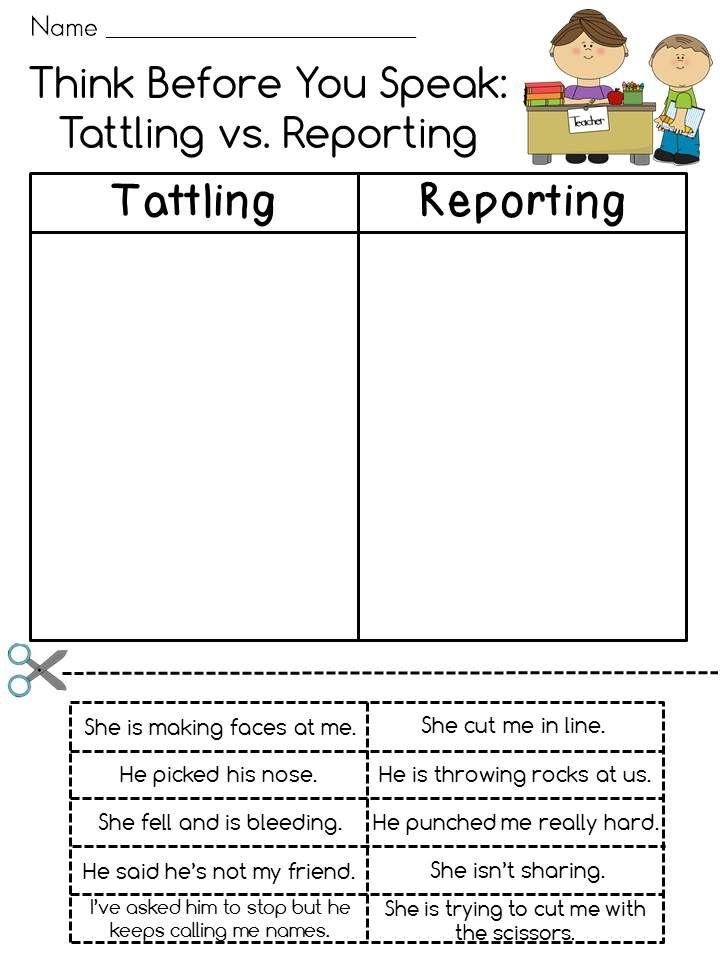 Tattling Vs Reporting Guidance Lessons Elementary School