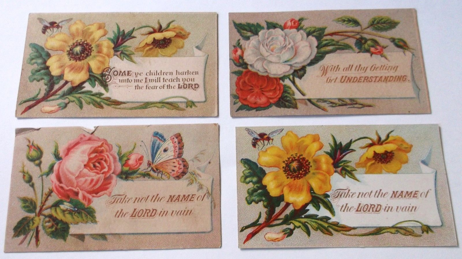 4 victorian era religious sayings cards floral w bees butterfly 4 victorian era religious sayings cards floral w bees butterfly m4hsunfo