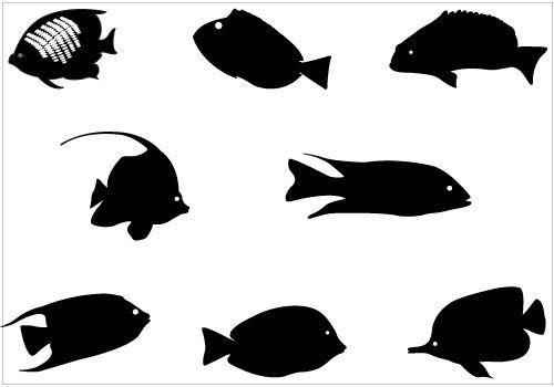 Coral Fish Silhouette Vector Graphic Clip Art Pack Fish Silhouette Fish Vector Animal Silhouette