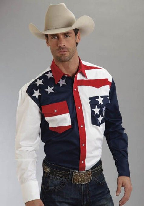 f0cd3a2d Roper® Mens American Flag Cotton Long Sleeve Pearl Snap Cowboy Shirt ...
