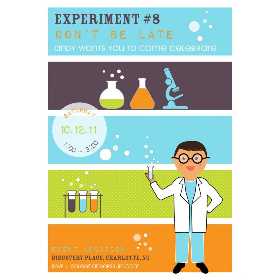 Mad Scientist Boy Printable Birthday Party Invitation 18 Boy