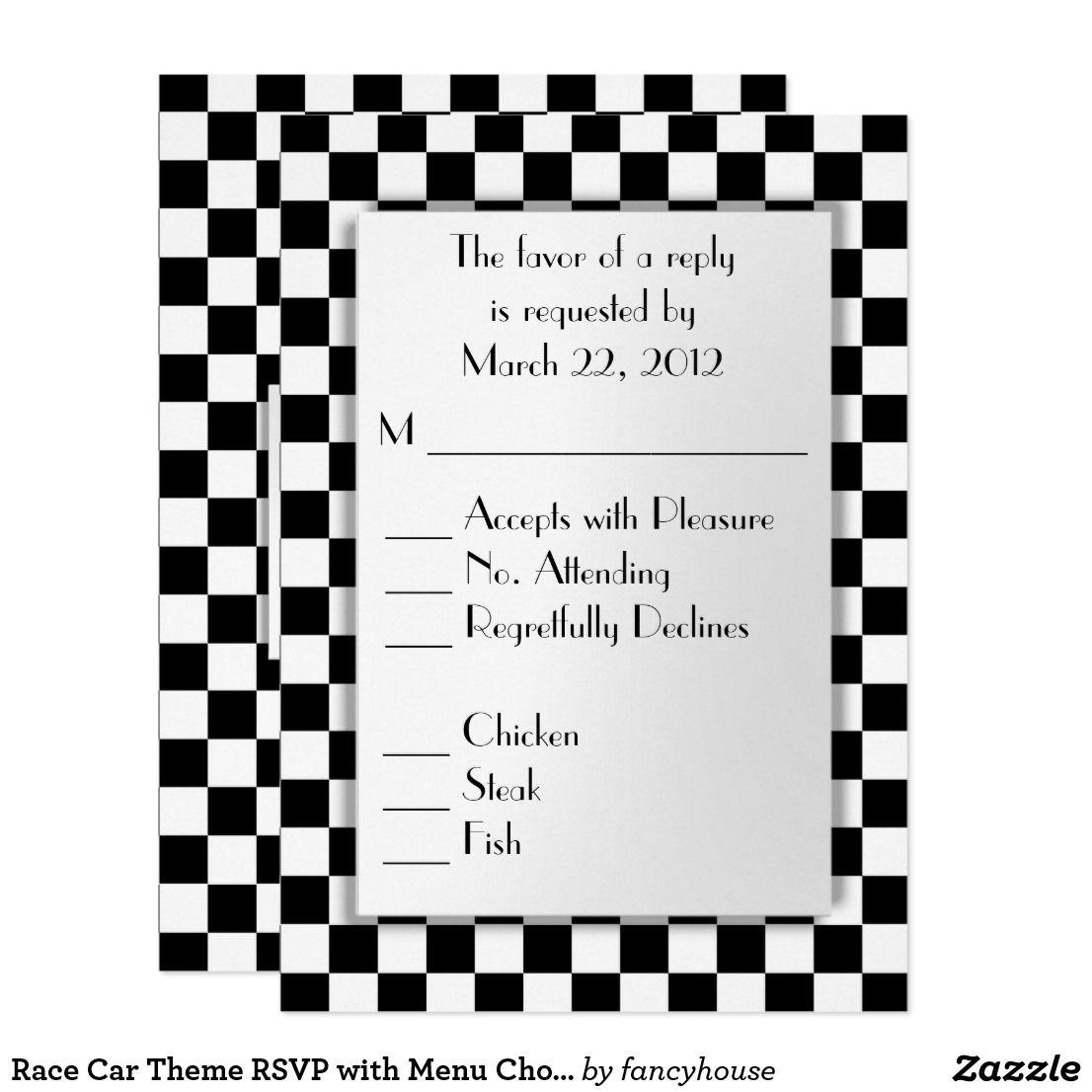 Race Car Theme RSVP with Menu Choice Card | Race car themes, Rsvp ...