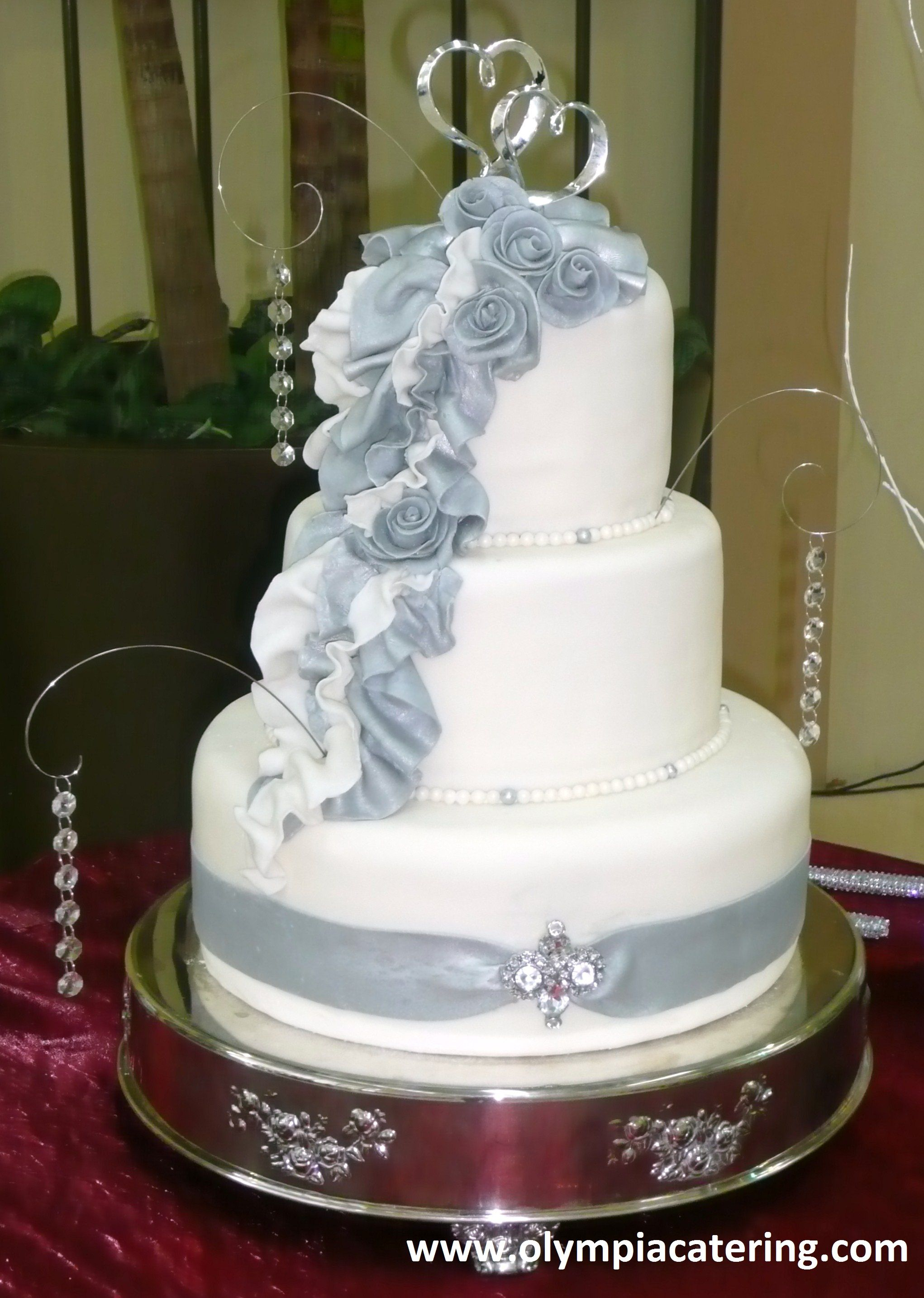 Round Wedding Cake, Fondant, Silver and White Draping, Gumpaste ...