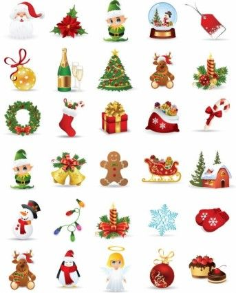 Christmas Graphics Free Download.Christmas Elements Vector Collection Vector Icon Free