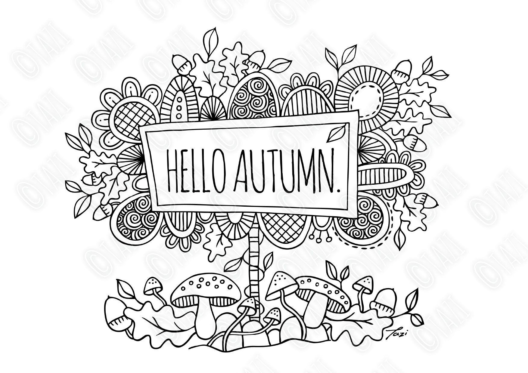 Hello Autumn Colouring Page Tazi Graphics Printables Hello Autumn Coloring Pages Kids Artwork