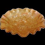 Antique Carnival Glass,  Millersburg Marigold Tight Crimp Bowl. Blackberry Wreath Pattern.