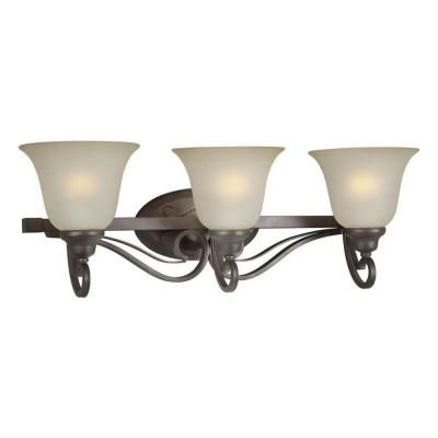 Forte Lighting 3 Light Antique Bronze Bath Vanity Light With Shaded Umber Glass 5346 03 32 The Home Depot Vanity Lighting Bath Vanity Lighting Bronze Bathroom