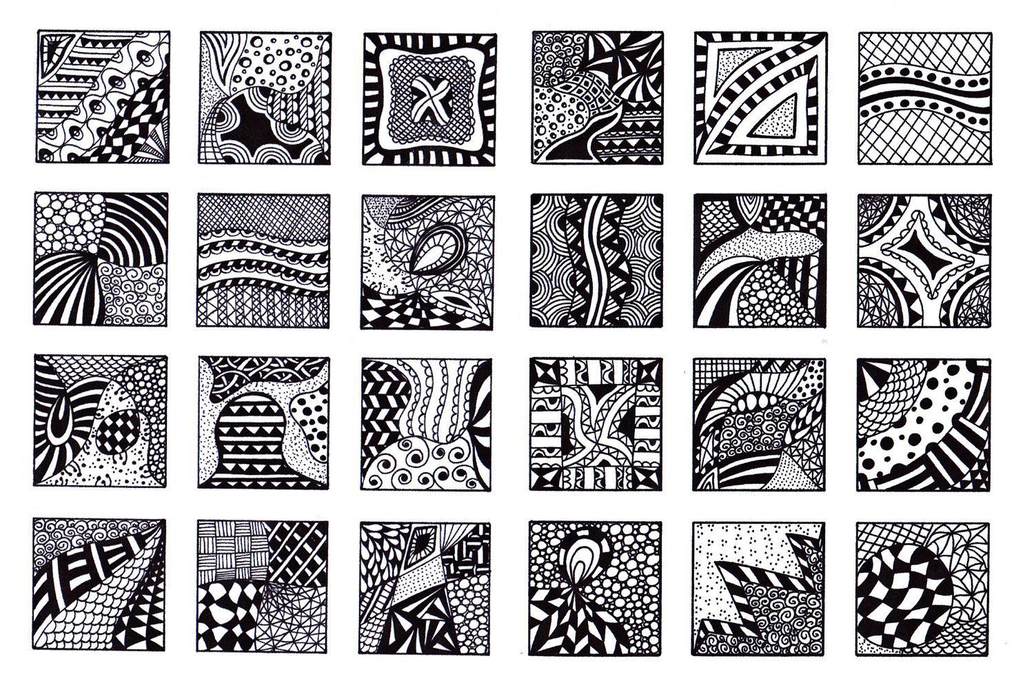 Digital Collage Sheet 1 Inch Squares Black And White