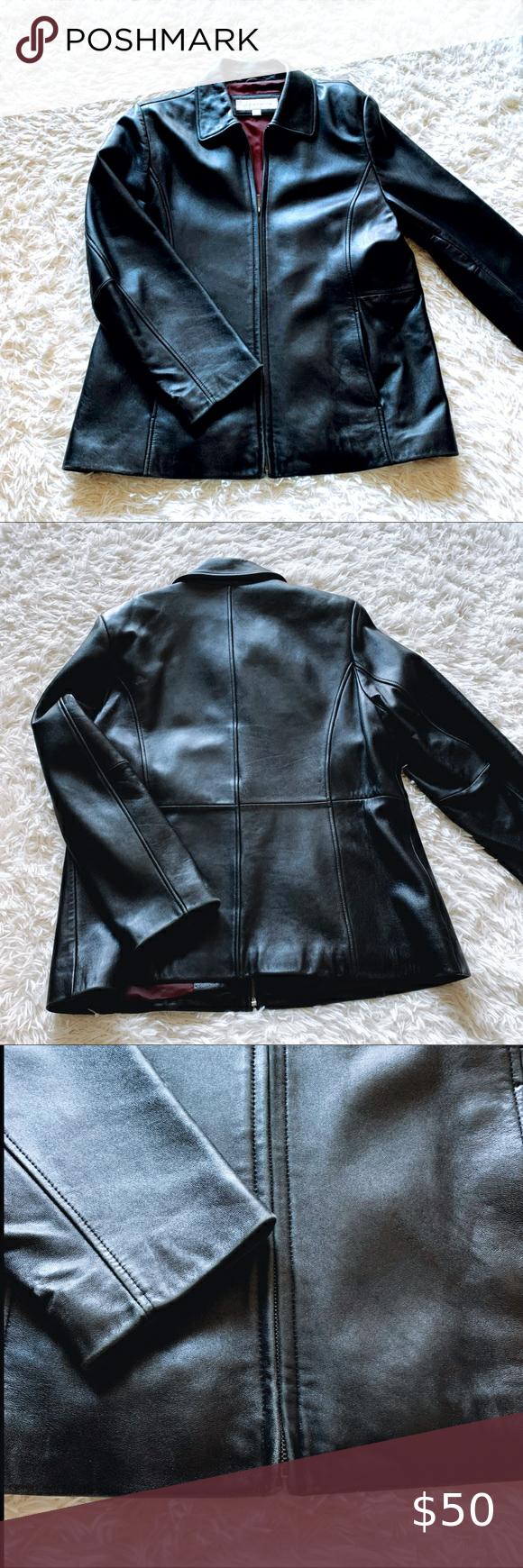 Liz Claiborne Leather Coat Black Leather Coat Leather Coat Distressed Leather Jacket