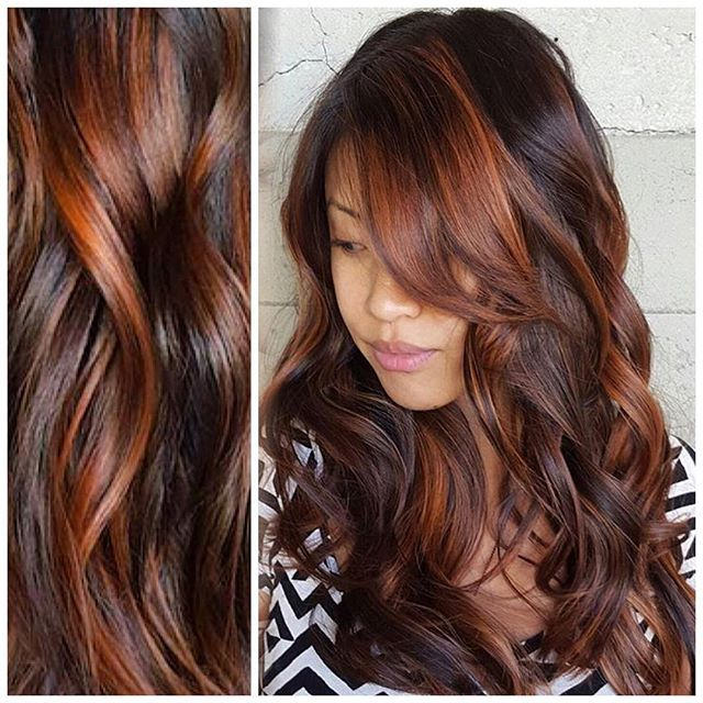 Sizzling Copper Red Hair Highlights Over Sexy Brunette Hair By
