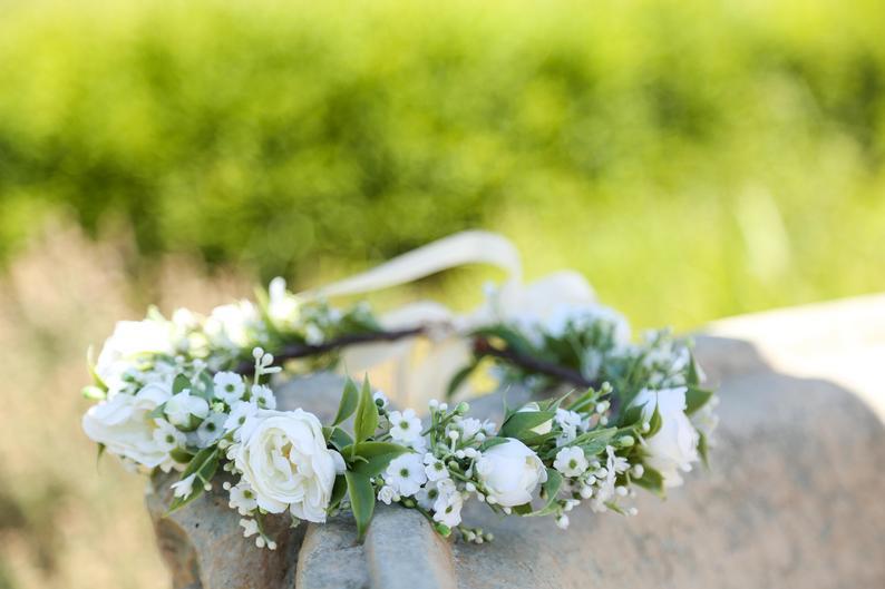White Baby Breath Flower Crown Headband White Flower Crown Etsy In 2020 Baby Flower Crown White Flower Crown Flower Girl Crown