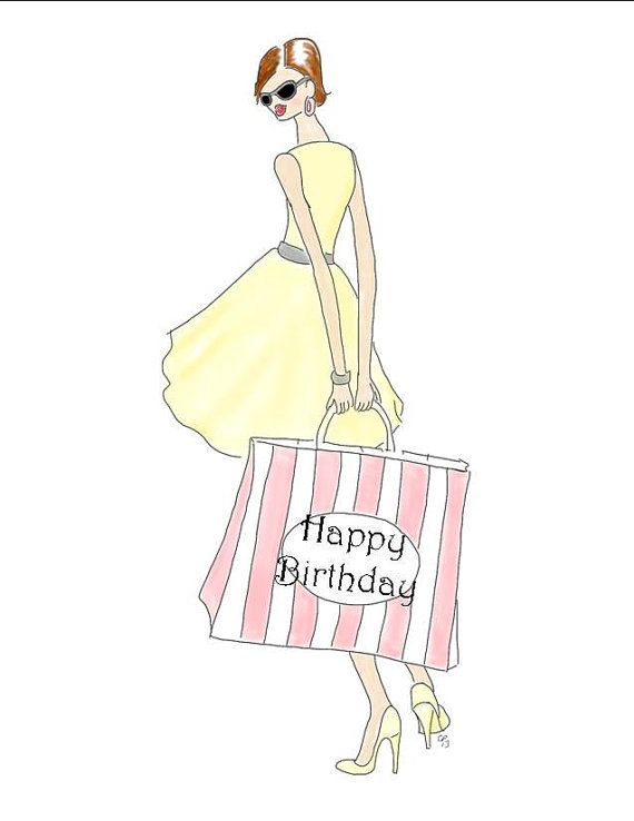 Items Similar To Posh Shopping Girl Happy Birthday Drawing Card In Yellow And Gray Made On Recycled Paper Comes With Envelope Seal Etsy