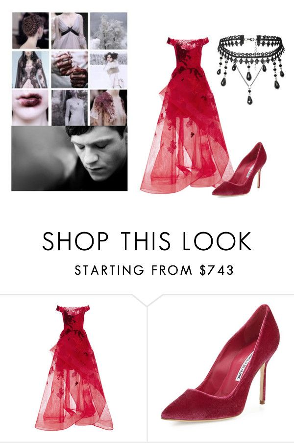 """House Bolton"" by missdevilxx ❤ liked on Polyvore featuring Monique Lhuillier and Manolo Blahnik"