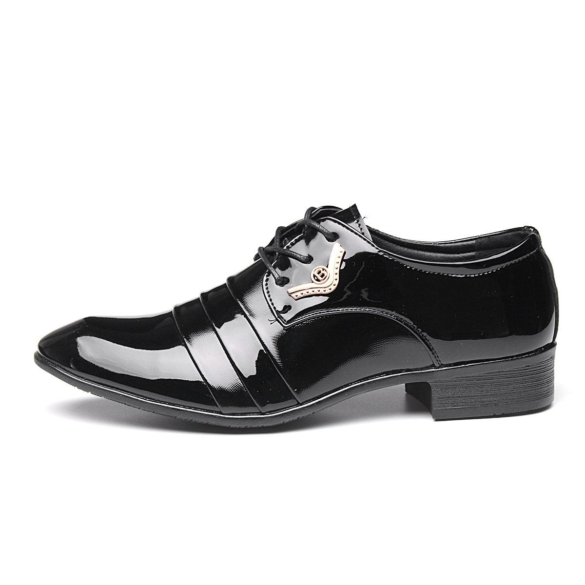 Mens Formal Dress British faux Patent Leather business Pointed Toe Wedding Shoes