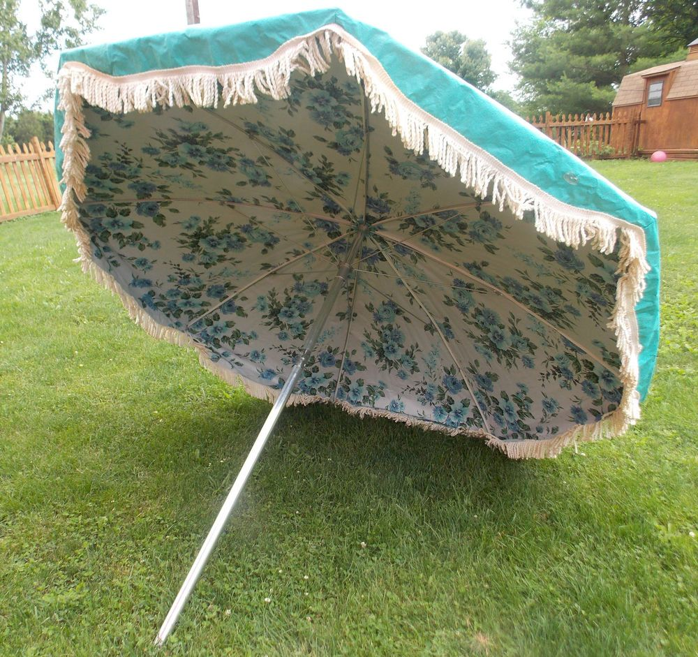 Vintage Midcentury 7FT FINKEL FLORAL FRINGE TURQUOISE PATIO UMBRELLA W/Box
