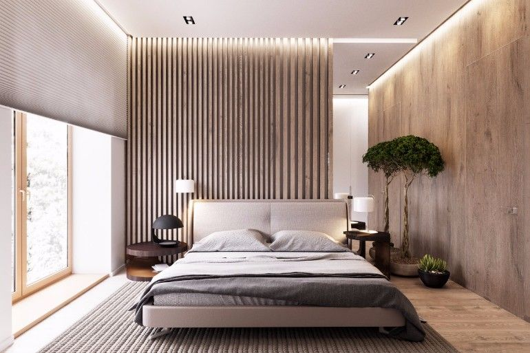 Modern bedroom inspiration with beautiful wood walls
