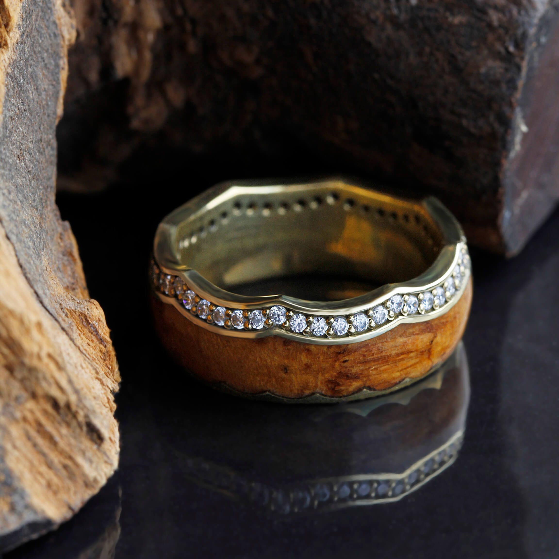 titanium metal wedding teak s ring men duality rings and band mens products wood