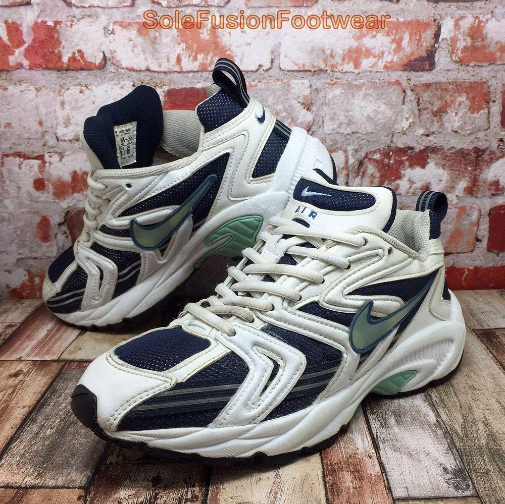 Nike Womens AIR ALATE Running Trainers White/Blue sz 6 VTG Sneakers US 8.5  EU 40