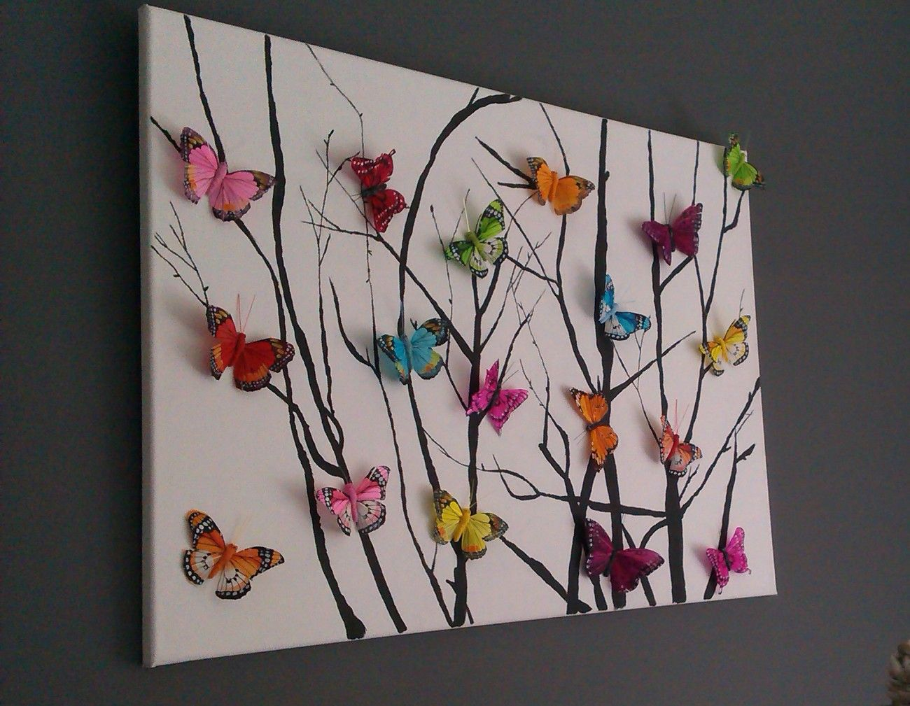 Beautiful Butterfly Artwork. 3D Buttetflies Glued On And Sticks Done Either  Painted On Or Painted