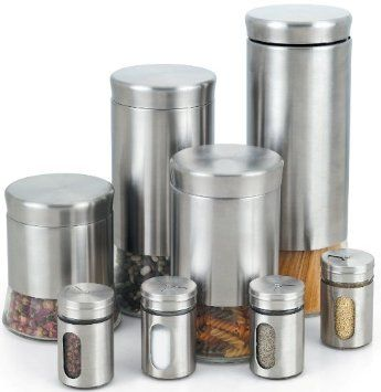 Amazon Com Cook N Home Stainless Steel Canister And Spice Jar Set 8 Piece Cookie Jars Spice Jar Set Stainless Steel Canister Set Stainless Steel Canisters