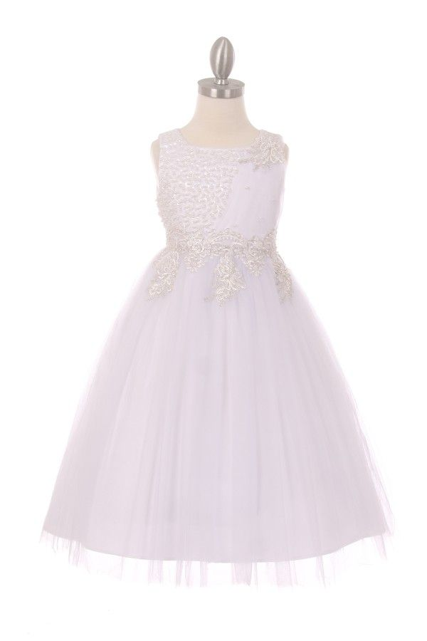648db86c28d Linda - Pearl Beaded Flower Girl Dress in WhiteCC5009 - White Satin Flower  Girl Dress Hand Beaded Pearl Bodice Multi Layered Tulle with Coiled Hem for  a ...
