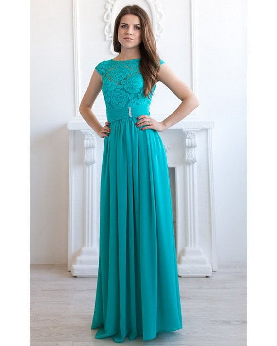 Turquoise Bridesmaid Dress Long Turquoise Lace Dress By