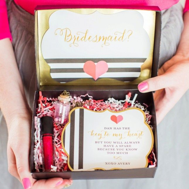 Such a cute way to ask your bridesmaids. | Wedding from Brit + Co ...
