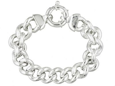 7 inch Artisan Sterling Silver Band and  Chain Link Bracelet