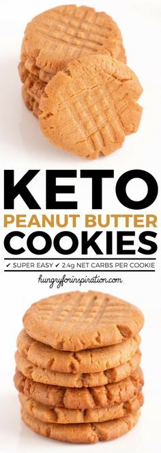 The Easiest Keto Peanut Butter Cookies Ever! Only 3 ingredients needed for these super easy Keto Cookies - done in 20 minutes! 100% suitable for the ketogenic diet or low carb diet with only 2.4g net carbs per cookie.