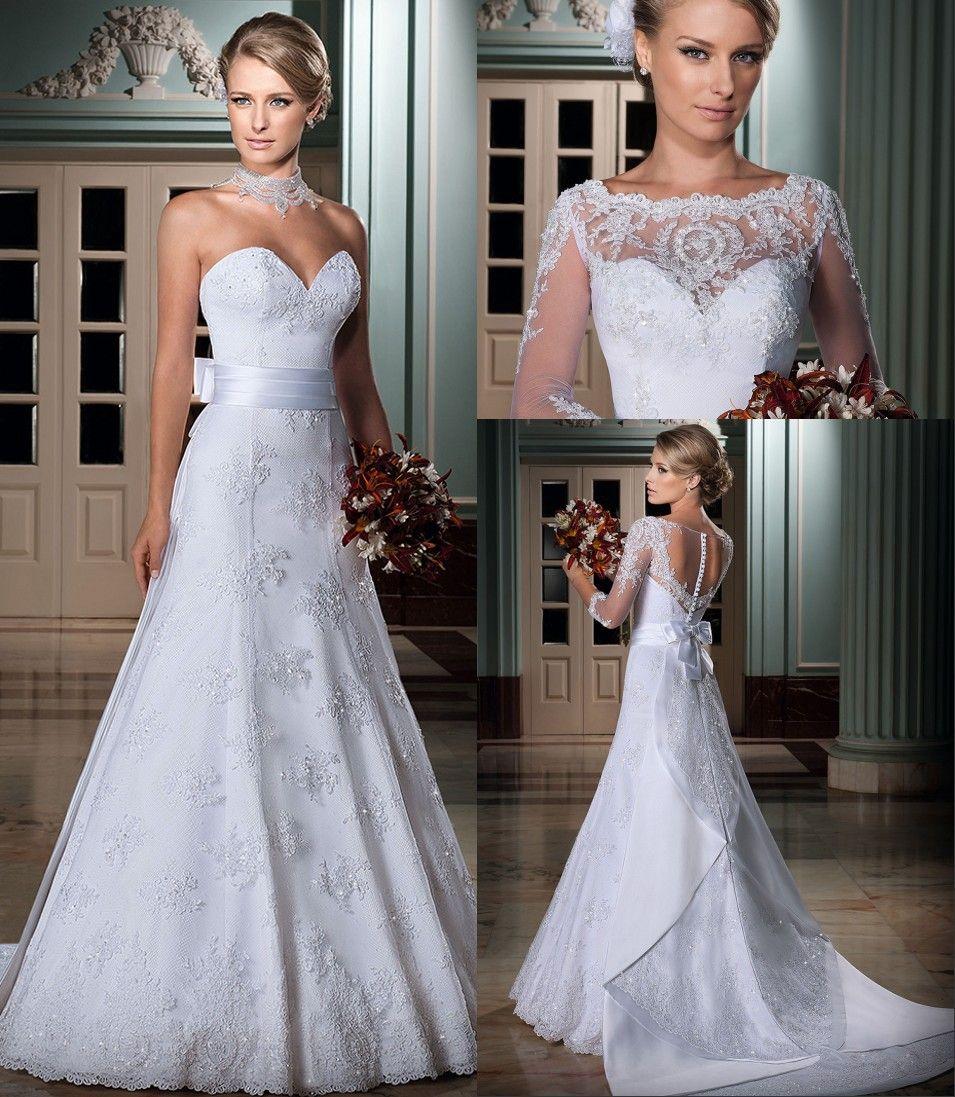 Hot Sale New Charming Detachable Three Quarter Bow Lace Wedding Dresses Sweetheart Lace Sweetheart Wedding Dress Sweetheart Wedding Dress Wedding Dresses Lace [ 1097 x 955 Pixel ]