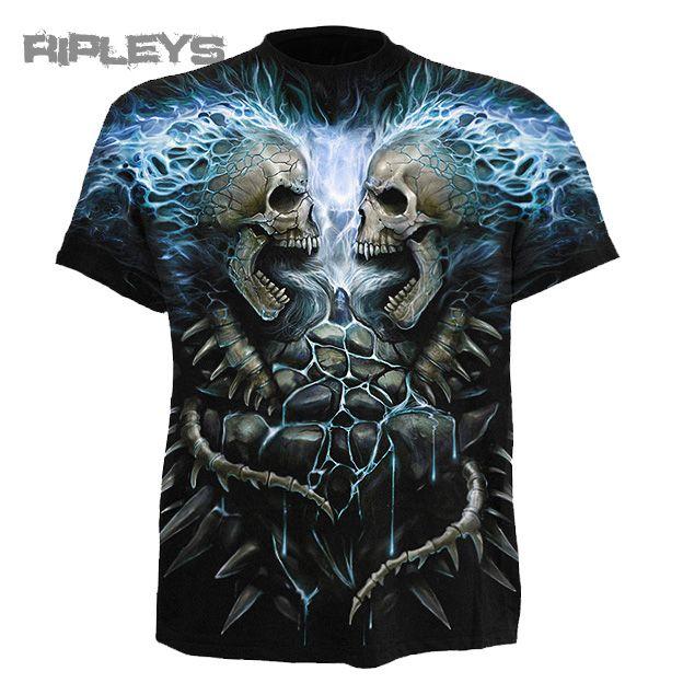SPIRAL DIRECT T Shirt FLAMING SPINE Goth/Skeleton/Blue Fire Skulls All Sizes