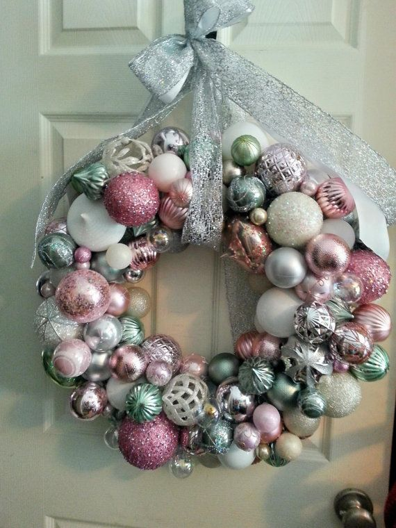This Is A Beautiful Pure Ornaments Wreath Pastel Colors Of Mint Green Pink Silver And White I Christmas Wreaths Pink Christmas Decorations Handmade Wreaths