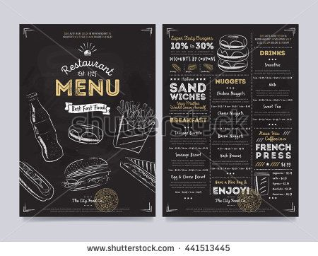 Fast food menu design and fast food hand drawn vector illustration. Cover of fast food menu or restaurant menu template. Layout of fast food menu design. Fast food menu board or food banner. Fast food