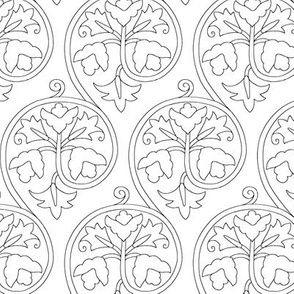 Elizabethan Scrolling Floral Blackwork by sidney_eileen