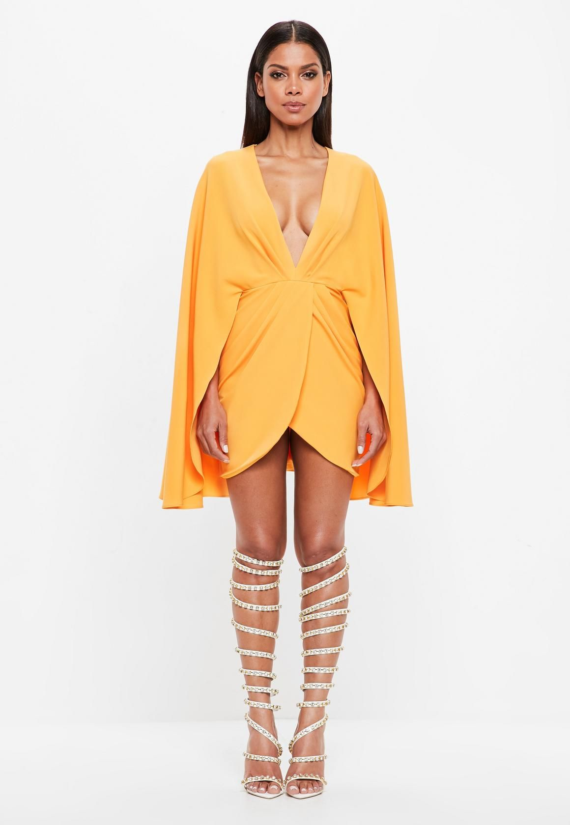 Missguided - Peace Love Orange Plunge Cape Mini Dress  38b501720
