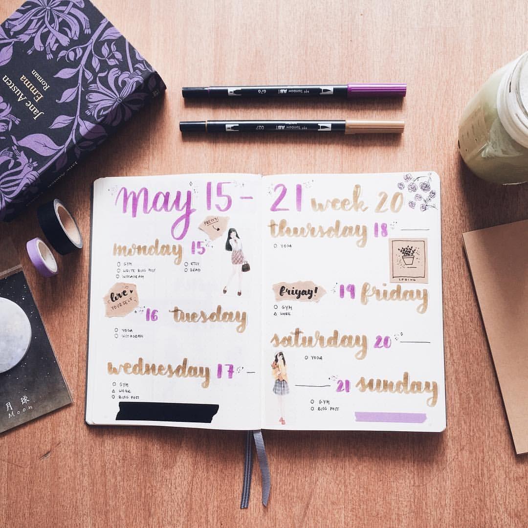 """147 kedvelés, 9 hozzászólás – Rebeka (@thegoldennabla) Instagram-hozzászólása: """"This week in my bullet journal."""""""