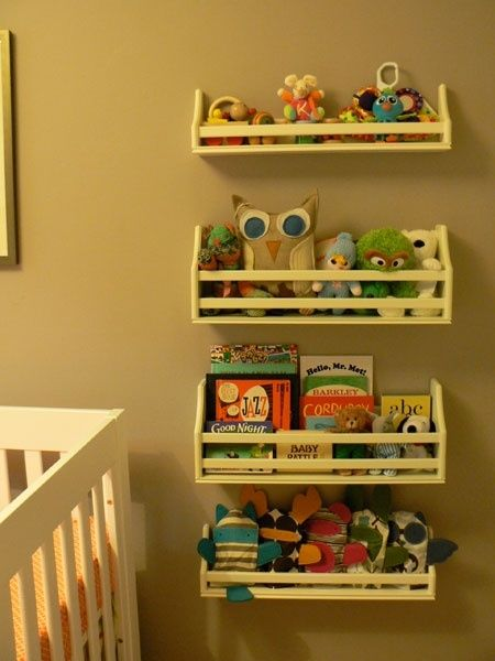 Nursery Tour: Baby Daley\'s Room-to-Be | Book wall, Wall shelves and Toys