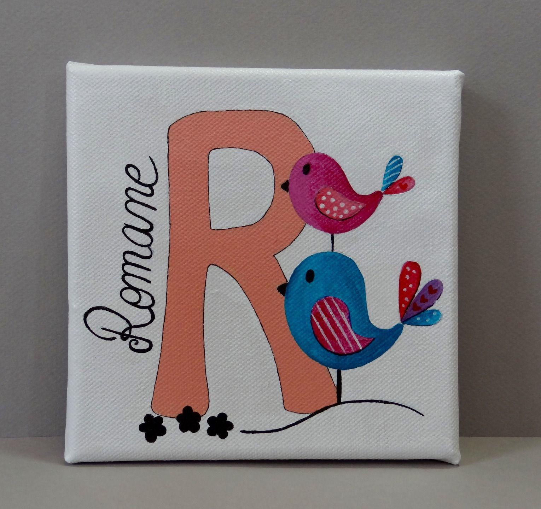 tableau pr nom pour chambre d 39 enfant oiseaux idee tableau pinterest pr noms enfant. Black Bedroom Furniture Sets. Home Design Ideas