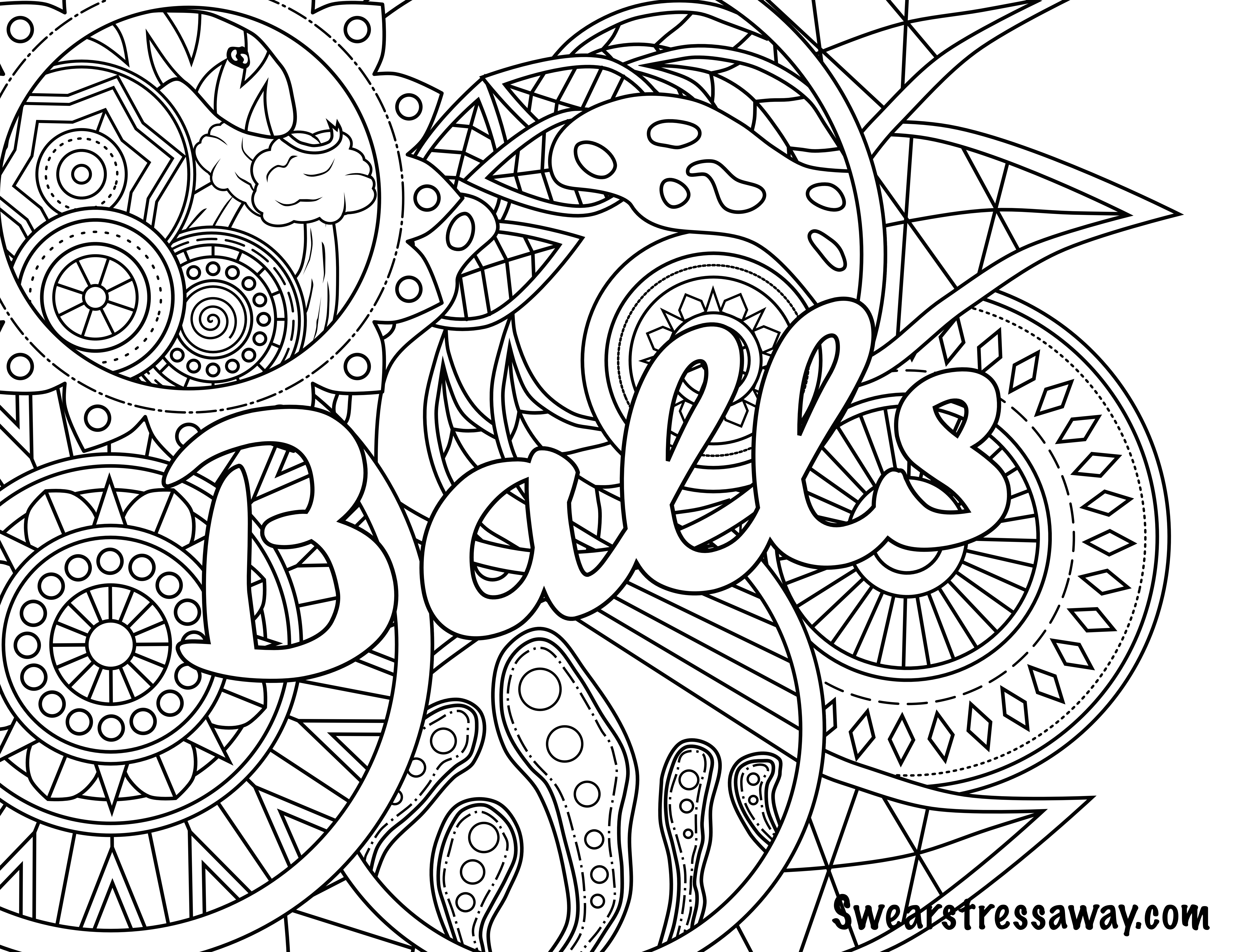 Bad word coloring pages - Balls Swear Word Coloring Page Adult Coloring Page Swearstressaway Com Comes From