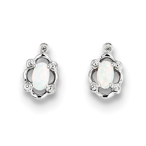 Sterling Silver Rhodium-plated Created Opal & Diam. Earrings QBE21OCT
