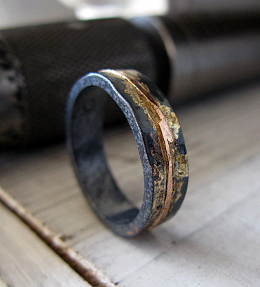 Mens Wedding Band Ring Oxidized Black Gold Rustic Unique Viking Bands