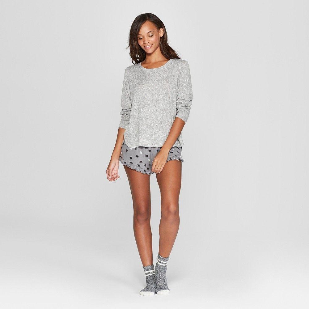cb631ecd77 Women s Cozy 3pc Bear Pajama Set - Xhilaration Gray XL
