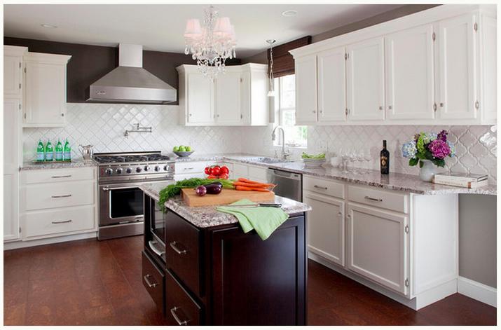 kitchen; dark island white cabinets; white moorish tile backsplash; cc @Mary Lynne Rote