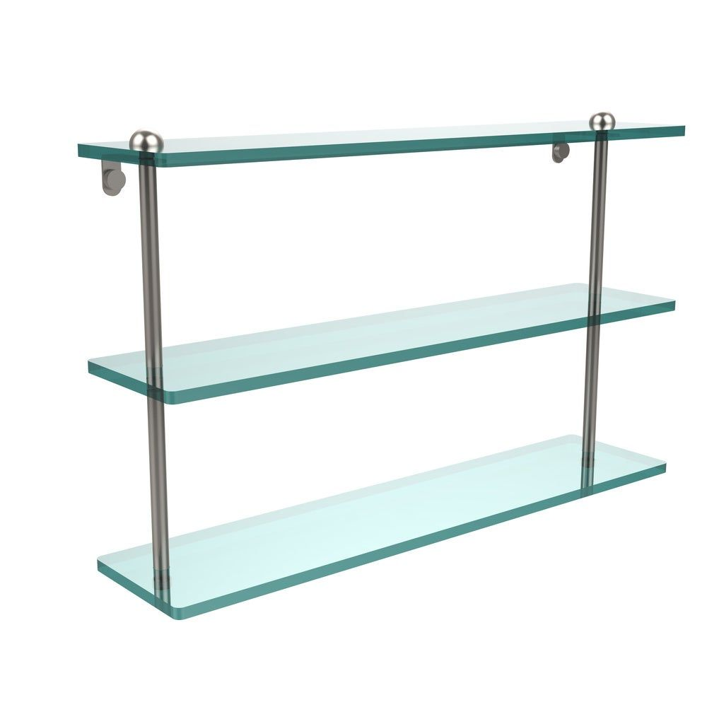 Photo of 22-inch shelf made of three-tier glass (satin brass), clear, allied brass