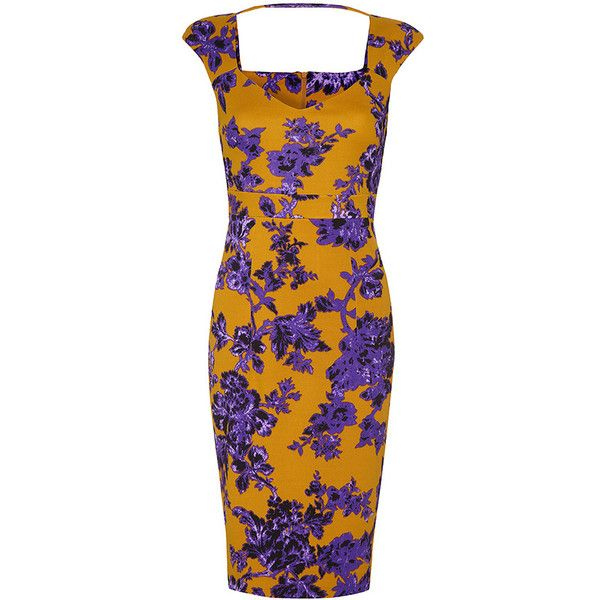 Vesper Raven Floral Dress ($66) ❤ liked on Polyvore featuring dresses, purple, yellow, purple dress, floral bodycon dress, body con dresses, bodycon party dresses and floral dresses